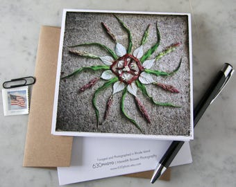 Maple Raspberry Mandala ~ One 5x5 Square Note Card (with envelope, blank inside, no message)