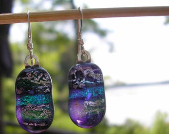 Earrings Dichroic Glass Deep Purple with Turquoise and Green Stripes Silver Filagree Kiln Fused Glass .925 Sterling Silver French Hooks Boho