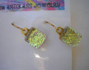 Dichroic Earrings Petite Gold Sparkle Dangle Drop 14K Gold Small Earrings Kiln Fused Glass Hand Carved Jewelry Aqua Gold Earring Lightweight