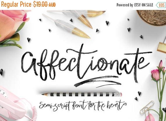 Digital Fonts 80% Off SALE Valentines Day Digital Fonts - Affectionate Brush Script Fonts - Heart swashes