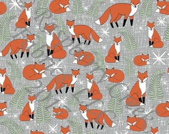 Rust Orange Olive Green and Grey Fox 4 Way Stretch FRENCH TERRY Knit Fabric, Woodland By Ella Randall for Club Fabrics
