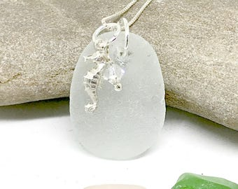 Sea Glass Sterling Necklace, Sea Horse Necklace, Sea Glass Pendant, Sea Glass, Seaglass, Gift For Her