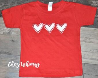 Valentine's Day Shirt, Hearts in a Row, Red Shirt, Toddler Shirt, Red Short Sleeve Shirt, Heart Shirt