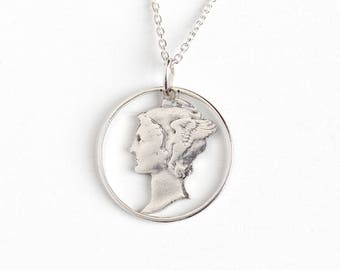 Vintage 900 Silver Mercury Dime Coin Pendant Necklace - Winged Lady Liberty Head Dime Currency Charm on Sterling Silver Chain Jewelry