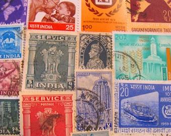 Darjeeling Express 50 Vintage Indian Postage Stamps Republic of India New Delhi Bollywood Bombay Hindu East Asia Yoga Worldwide Philately