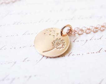 Necklace, Rose Gold Necklace, Rose Gold Jewelry, Dandelion Necklace, Dandelion Pendant, Handmade Necklace, Bridesmaid Necklace, Gift for Her