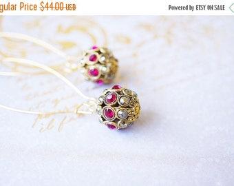 SALE Earrings, Gold Earrings, Crystal Earrings, Ruby Earrings, Long Earrings, Dangle Earrings, Drop Earrings, Beaded Earrings, Gift for Her,