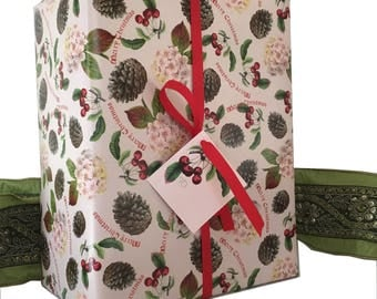Christmas fairy gift wrapping set Pink and Red Pinecones Cherries Hydrangea