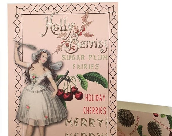 BLACK FRIDAY SALE Pink Fairy Christmas Card Vintage Design Peppermint Scented Teacher Gift