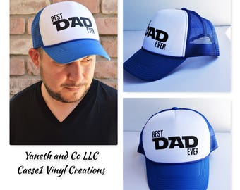 Best dad Ever trucker Hat,Fathers Day Trucker Hat,Best dad Trucker hat,Dad Trucker Hat,Blue and white trucker hat,Red and white trucker hat