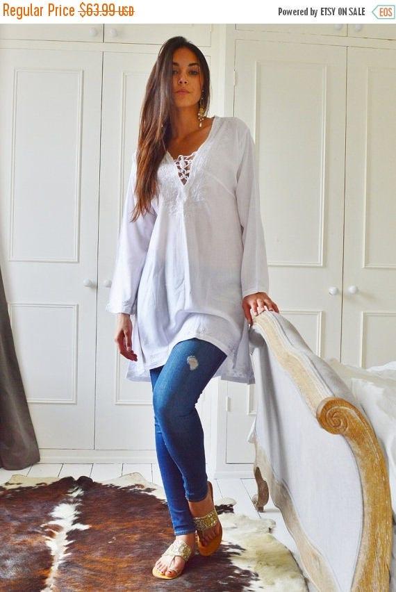 Autumn Dress 20% OFF/ White Tunic Embroidered Dress-Karmia's Syle