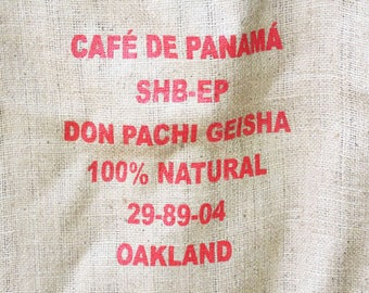 Vintage Burlap Coffee Bag, Cafe De Panama, Don Pachi Geisha, Heavy Weight Jute Woven Coffee bag,