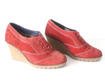 Vintage Red 100% Real Leather - Suede GORTZ SHOES Lace Up Wedge Women's Shoes Size UK3 EU36