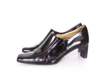 Women's Vintage GIANNI GREGORI Mid Heel Court Brown 100% Real Leather Shoes Size UK7 EU40