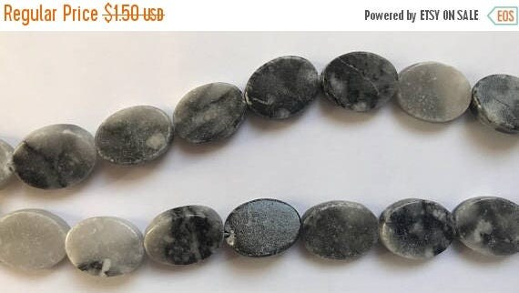 "CLOSING SALE 1 Strand of Marble Beads, 15"", about 20 Pieces, Black and Grey, Treated Gemstone, Large Size, 20mm, Oval Shape, G4"