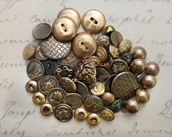 52 Goldtone Metal Sewing Buttons