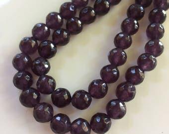 8mm JADE Beads in Dark Gray Purple, Faceted, Round, 1 Strand,  Beads, Semi Translucent 48Gemstones Beads, Purple Stone Beads