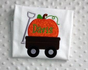 Personalized Pumpkin Wagon, Toddler White T Shirt