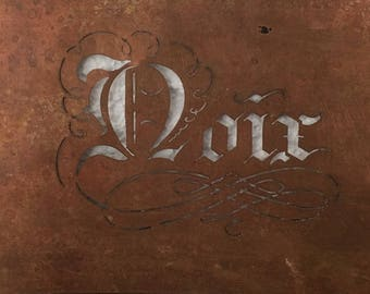 """Vintage Antique French Country Copper Stencil, """"Nuts,"""" Cottage Chic"""