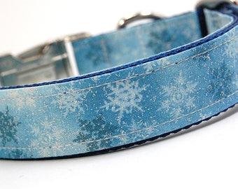 Handmade Dog Collar - Snowflake Sparkle - Winter Dog Collar - Dark navy and light blue Collar with snowflakes and bling