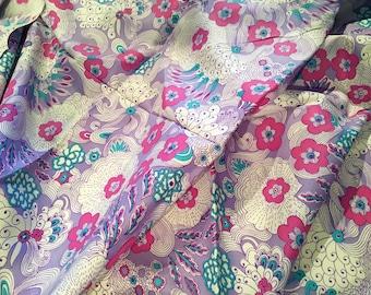 Vintage Fabric Mod Silky Sil Blend Purple 2 yards