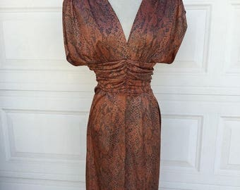 25% OFF SALE 1980s bronze metallic ruched draped tulip skirt sexy low cut open back dress size S