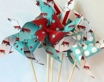 Little Red Wagon Pinwheels Red Aqua & White Set of 8 Large 1st Birthday Decorations Party Favors Centerpiece Party Favors Radio Flyer