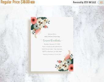 ON SALE Bridal Shower Invitations | Bridal Bouquet | Birthday Party Invite | Baby Shower