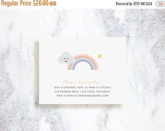 ON SALE Rainbow Invitation Set | Birthday Party Invite | Summertime Fun | Baby Shower