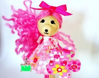 Doll brooch pin Miniature handmade pink