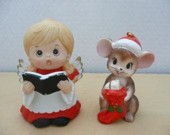 Vintage Ceramic Choir Boy Angel and Mouse with Christmas Stocking Figurines