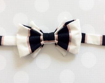 Boys Bow Tie - Black and Rose Gold - Black Stripe Bow Tie - Boys Black Tie - Bow Ties - Rose Gold Bow Tie