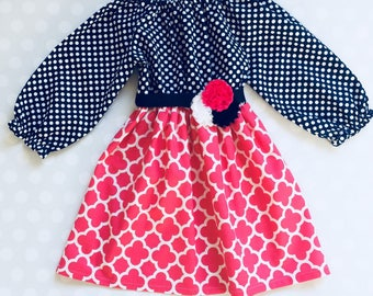 Navy and Peony Pink Girl's Dress - Long Sleeve Dress - Baby Girl Dress - Girls Dresses - Baby Dresses - Spring Dress - Easter Dress - Easter