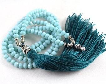 Tassel Necklace, Yoga Jewelry, Mala Style Necklace, Turquoise Necklace, Mala Necklace, Yoga Style Jewelry