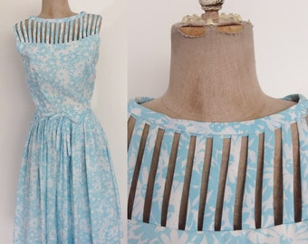 1950's Blue Floral Fit & Flare w/ Cage Bust Retro Pin Up Dress Size XS Small by Maeberry Vintage