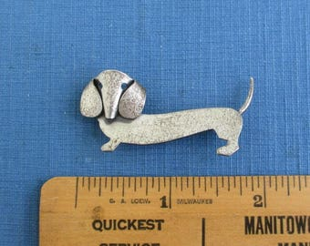 Beau Sterling Silver Dog Pin / Brooch - Vintage Modernist, Dachshund