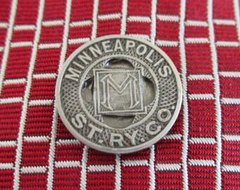 MINNEAPOLIS Railway Tie Tack - Vintage Transit Token, Repurposed Coin