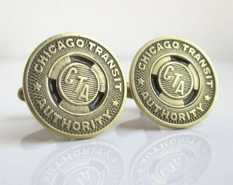 CHICAGO CTA Token Cuff Links - Repurposed Recycled Vintage Gold / Brass Coins