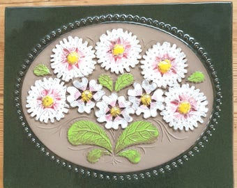 "Retro 7 1/4"" x 9"" / floral / pottery / retro / ceramic /  plaque /  wall decor / wall hanging / wall plaque from Jie, Sweden"