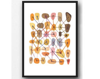 Orange watercolor, abstract watercolor painting, connections, West Elm, abstract art print,  office decor