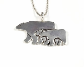 Mama Bear Jewelry For Mom, Unusual Jewelry For Women, Bear Jewelry Gift For Her, Robin Wade Jewelry, Sterling Bear Family, Pendant,  2489