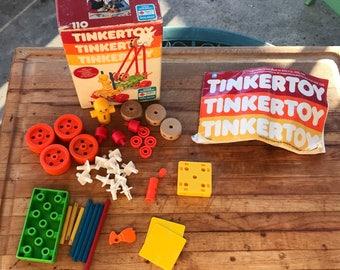 Vintage Toy / TinkerToy Set / Erector Set / Vintage Building Toy / 1983 Coleco / 80s Toys / Includes Instruction Manual For Building Ideas /
