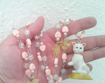 Kitty in My Pocket Necklace - Vintage figure necklace - Snowy the cat