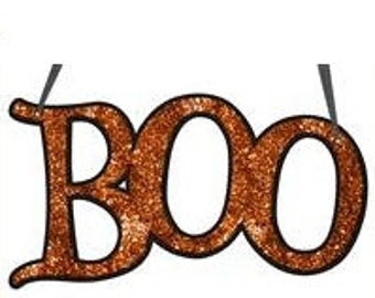 "SUPPLY SALE 14.5"" BOO Signs (4 Colors) Ms702199,  Glittery Boo Signs, Halloween Decor, Deco Mesh Supplies"