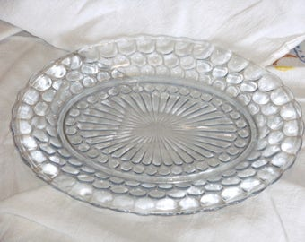 Vintage Bubble Glass Oval Serving Platter