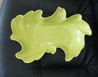 Vintage Green Amoeba Console Dish