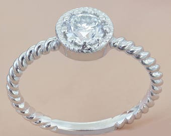 14K White Gold Round Cut Diamond Engagement Ring Braided Prong Set Deco, Wedding, Anniversary, Halo, Natural, Halo  0.55ctw