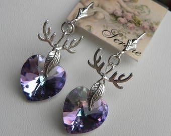 Heart Earrings Wild Heart Lilac Purple Crystal Heart Earrings Deer Earrings Valentine's Day Gift Purple Heart Sterling Silver, ©2018DJ