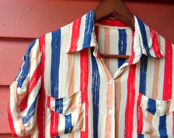 80s/90s Red White and Blue Blouse Summer Americana Short Sleeve Fourth of July Beach Boating Shirt XS S
