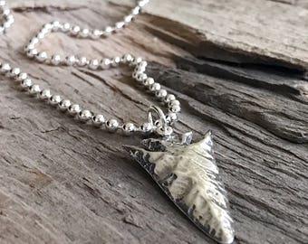 Men's Sterling Silver Arrowhead Necklace, Rustic Arrowhead Jewelry, Silver Necklace, Gift For Him, Bohemian Necklace, Bohemian Jewelry